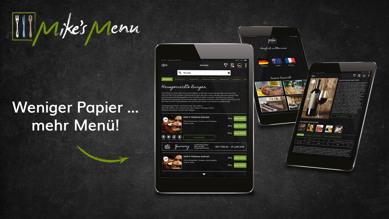 Verschiedene Screendesigns von Mike's Digital Menu